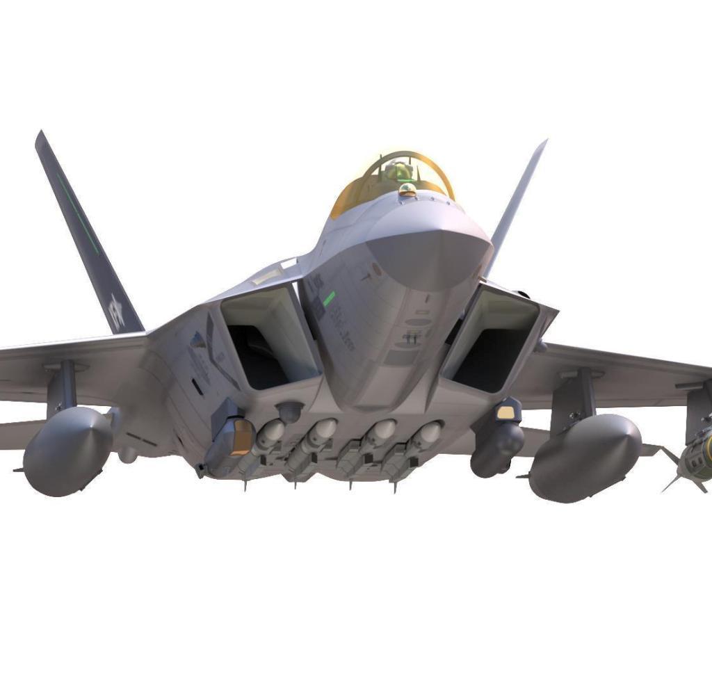Desain jet tempur domestik di Korea Selatan Foto ini dirilis oleh Administrasi Program Akuisisi Pertahanan pada 29 Juni 2018, menunjukkan desain program jet tempur KF-X asli Korea Selatan yang bertujuan untuk memproduksi 120 pesawat tempur canggih untuk menggantikan F yang sudah tua. -penerbangan di Angkatan Udara.  Pesawat tempur 4 dan F-5.  Korea Selatan berencana menyelesaikan proses desain pada September 2019 dan memproduksi prototipe pertama pada 2021. (Yonhap) / 2018-06-29 17: 36: 03 /